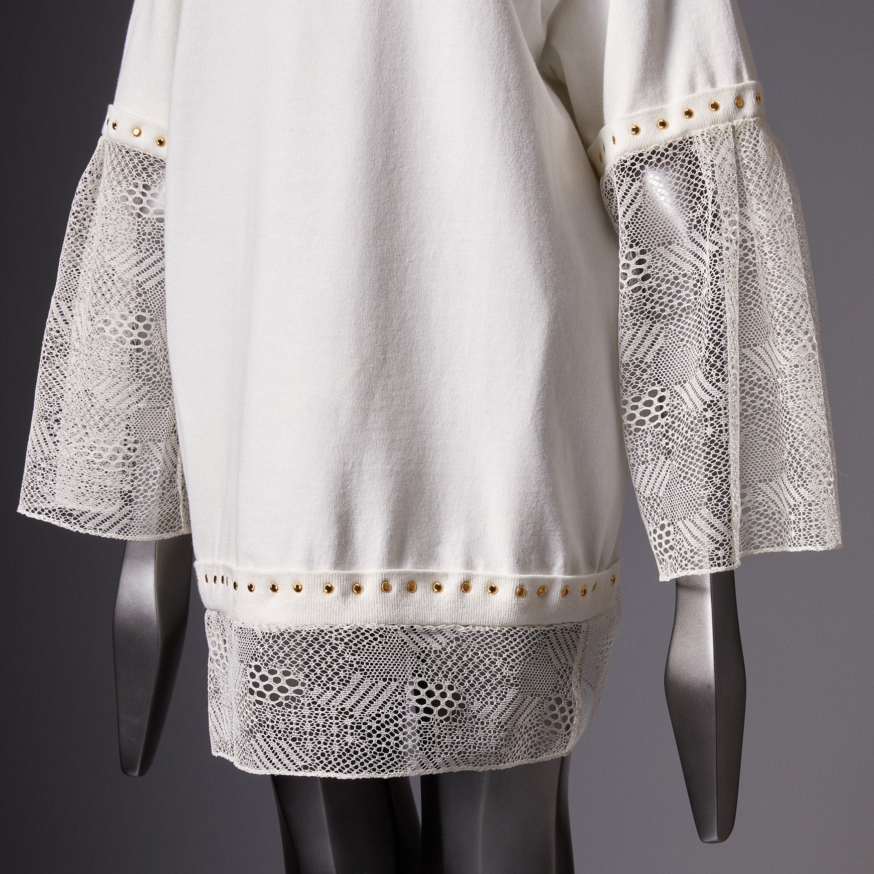 TYPE-1 Knit Organic Cotton Half Sleeves with French Lace Sleeve Parts Long (White Cells)