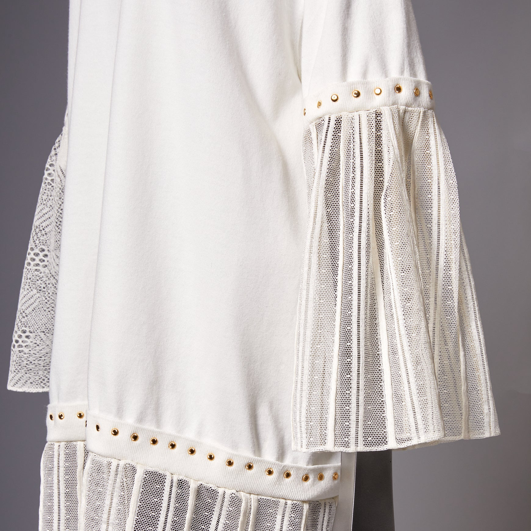TYPE-1 Knit Half Sleeves French Lace Sleeve Parts Long (White Striped)