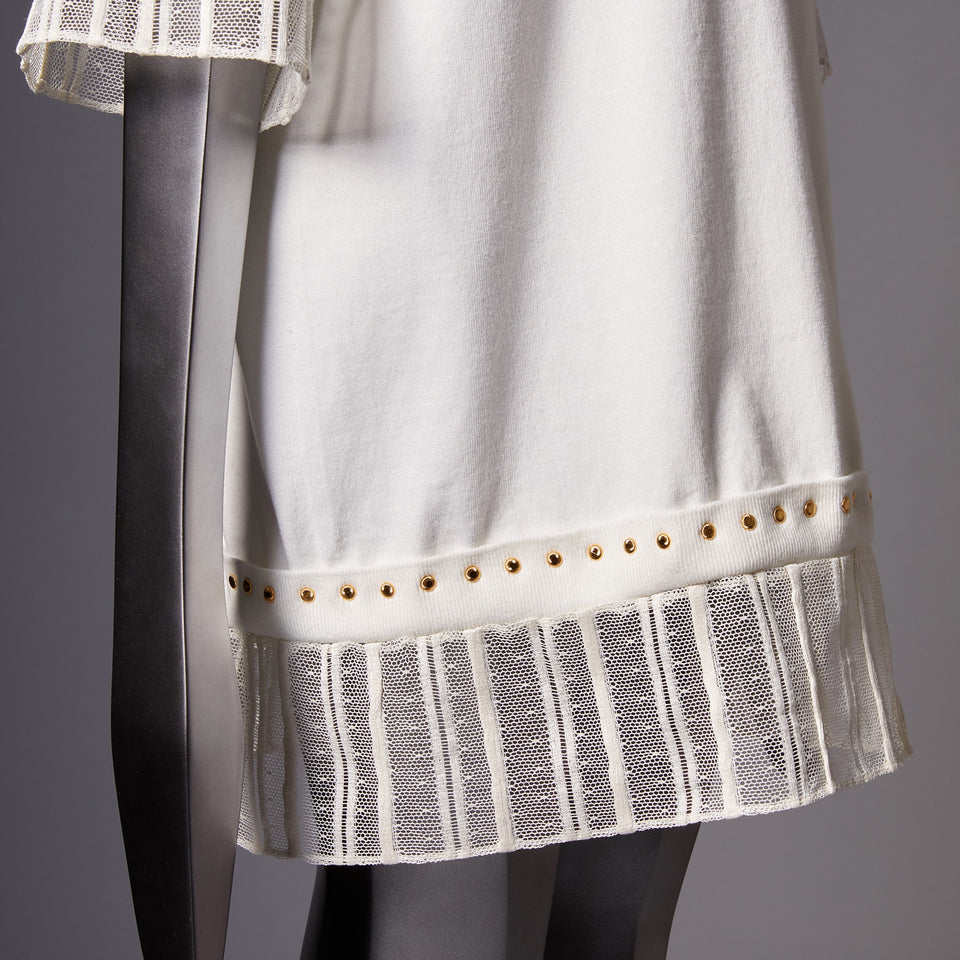 TYPE-1 Knit French Lace Waist Part (White Striped)