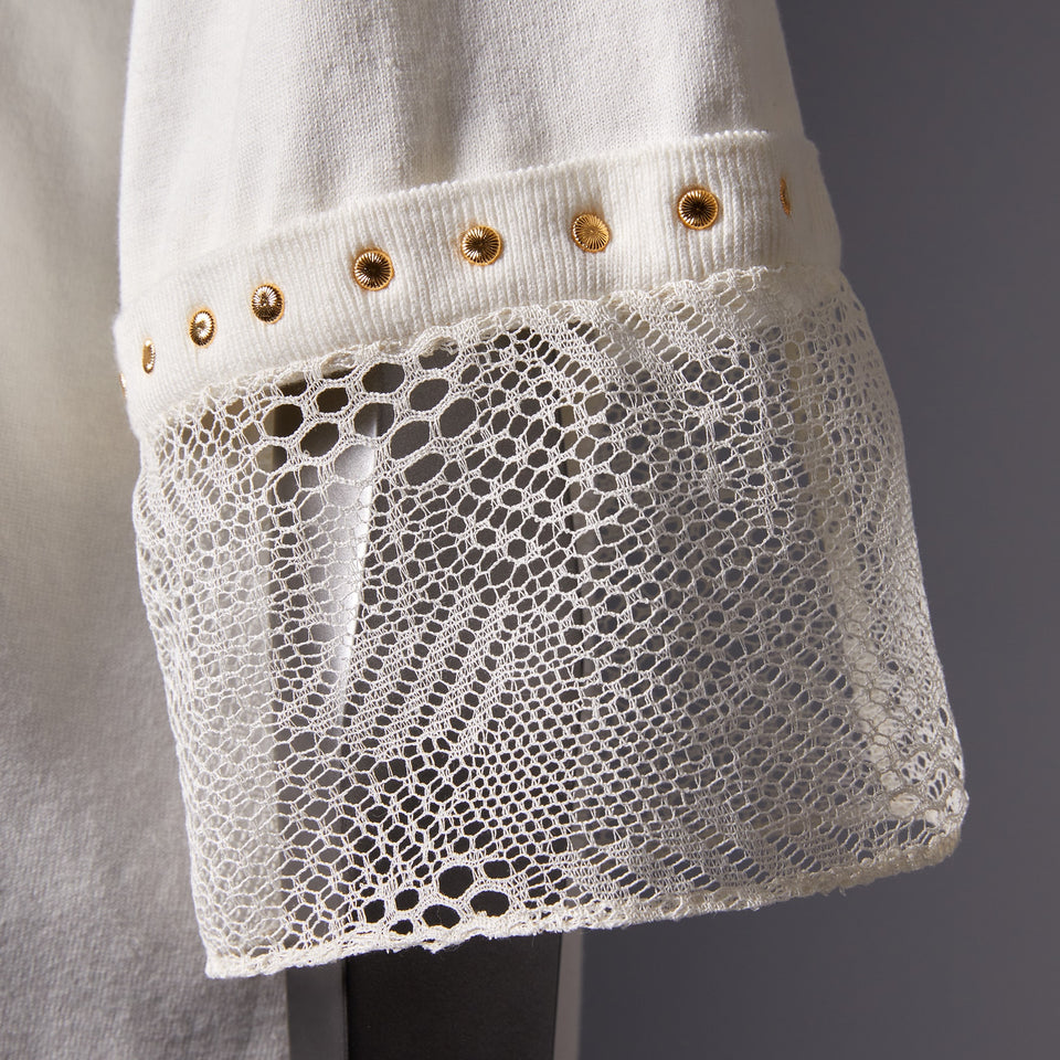 TYPE-1 Knit Half Sleeves French Lace Sleeve Parts Short (White Cells)