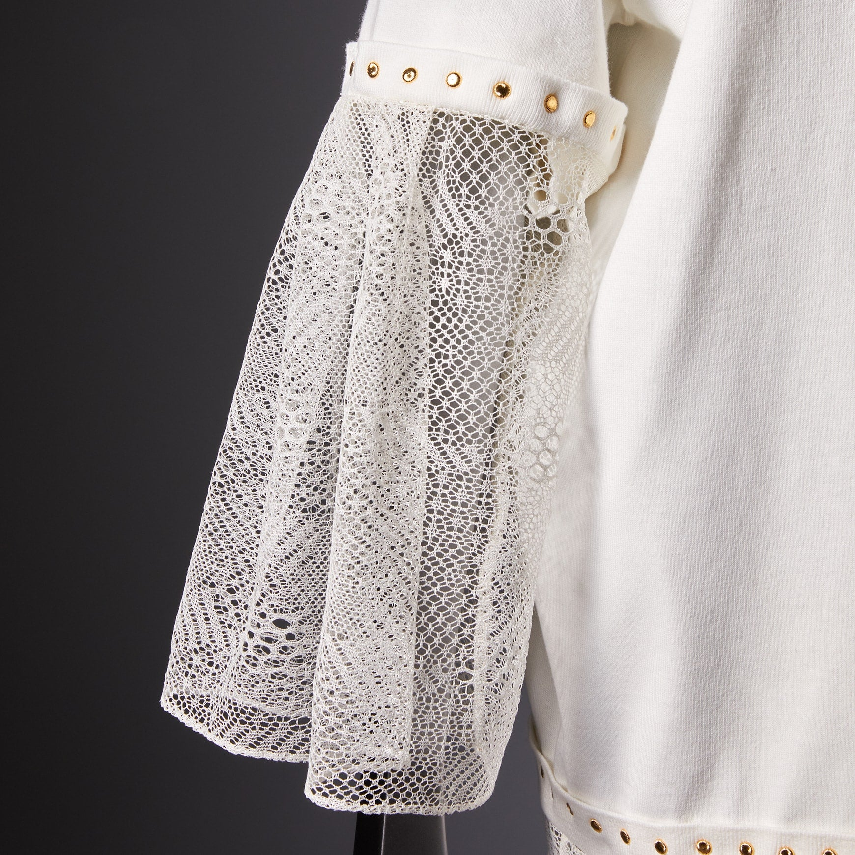 TYPE-1 Knit Half Sleeves French Lace Sleeve Parts Long (White Cells)