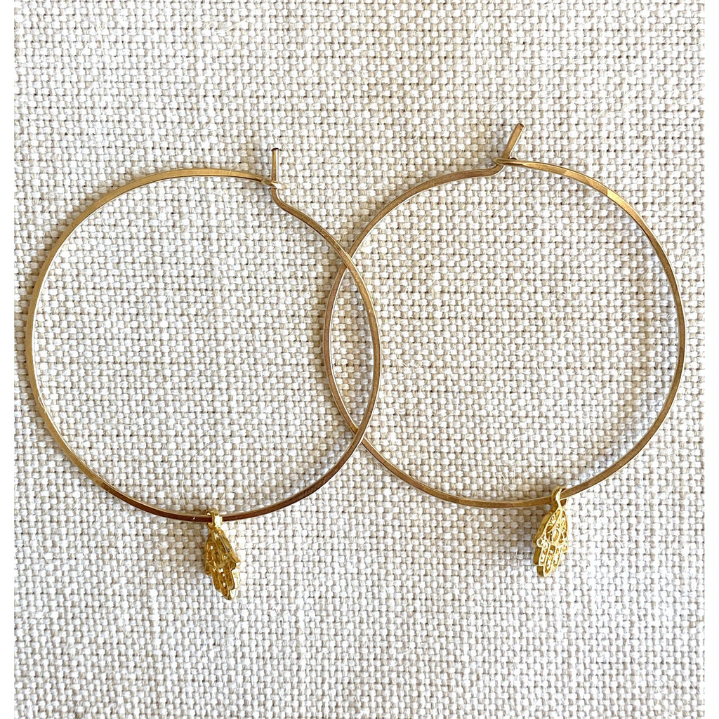 Mini Hamsa Charm Gold Hoops