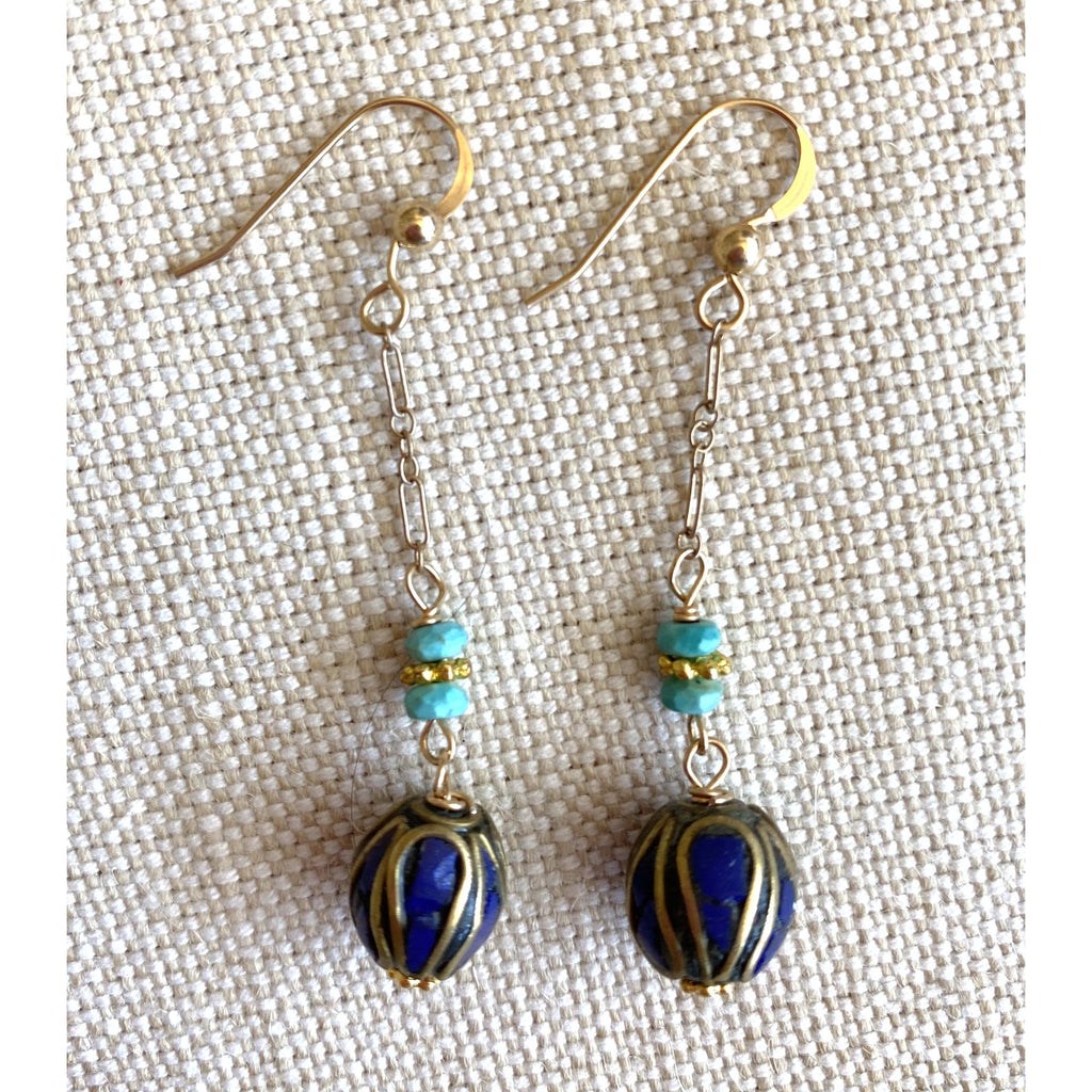 Dangly Navy Bead Earrings