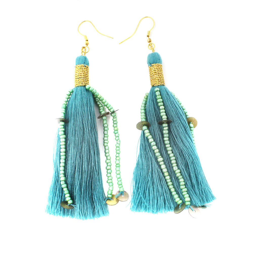 Teal Cotton Ophelia Earring