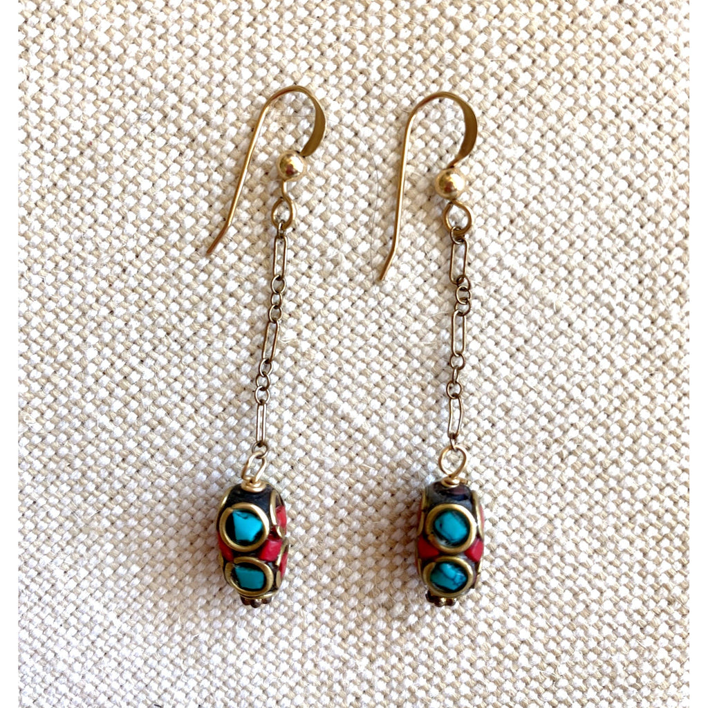 Dangly Turquoise and Coral Earrings