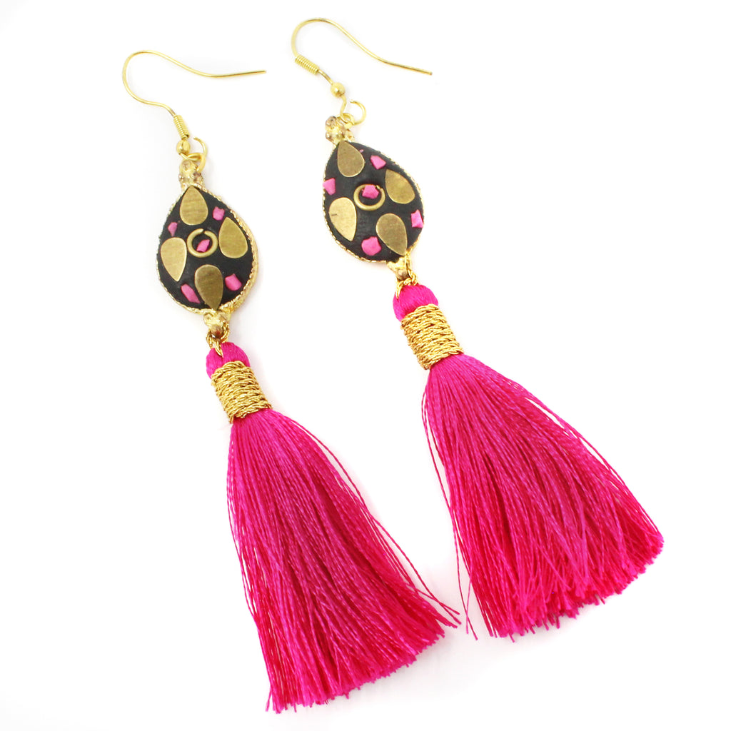 Hot Pink Silk Venus Earring