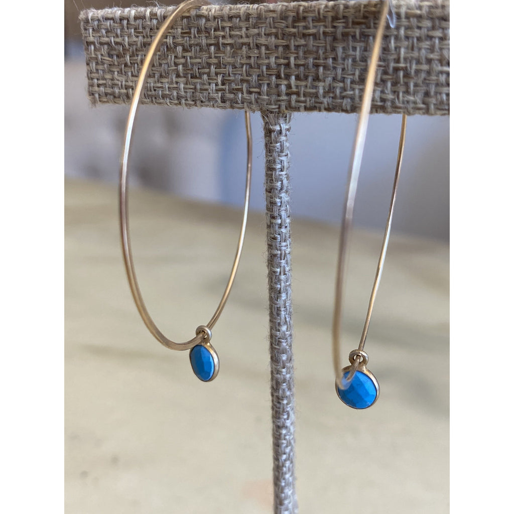 Turquoise Charm Gold Hoops