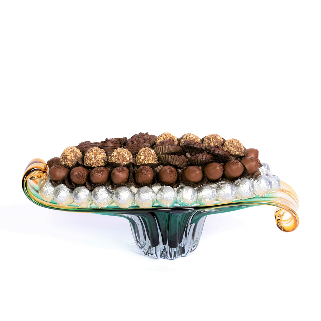 Peacock Glassware Plate 1 kg of Chocolate