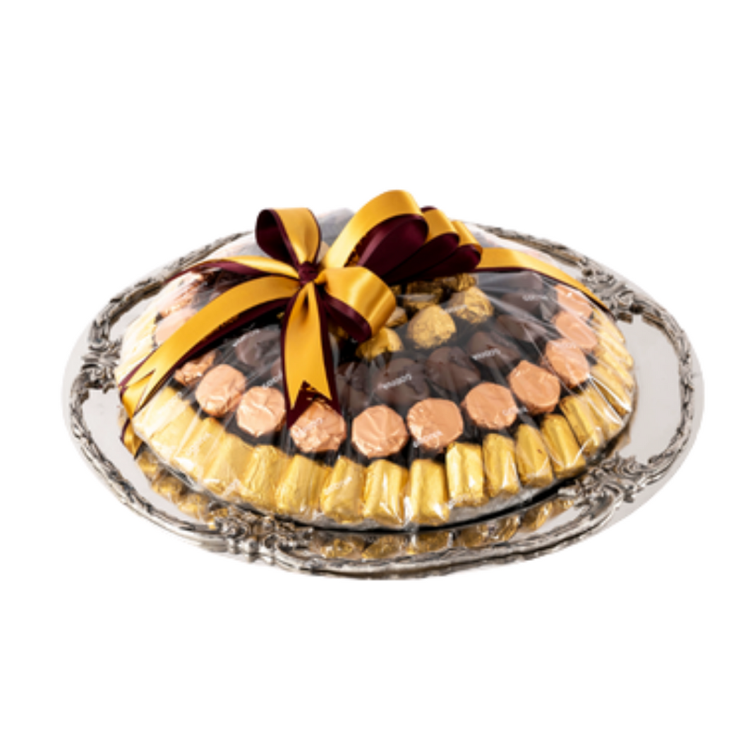 Round Silver tray with decorative edges - 1.25 kg of Chocolates
