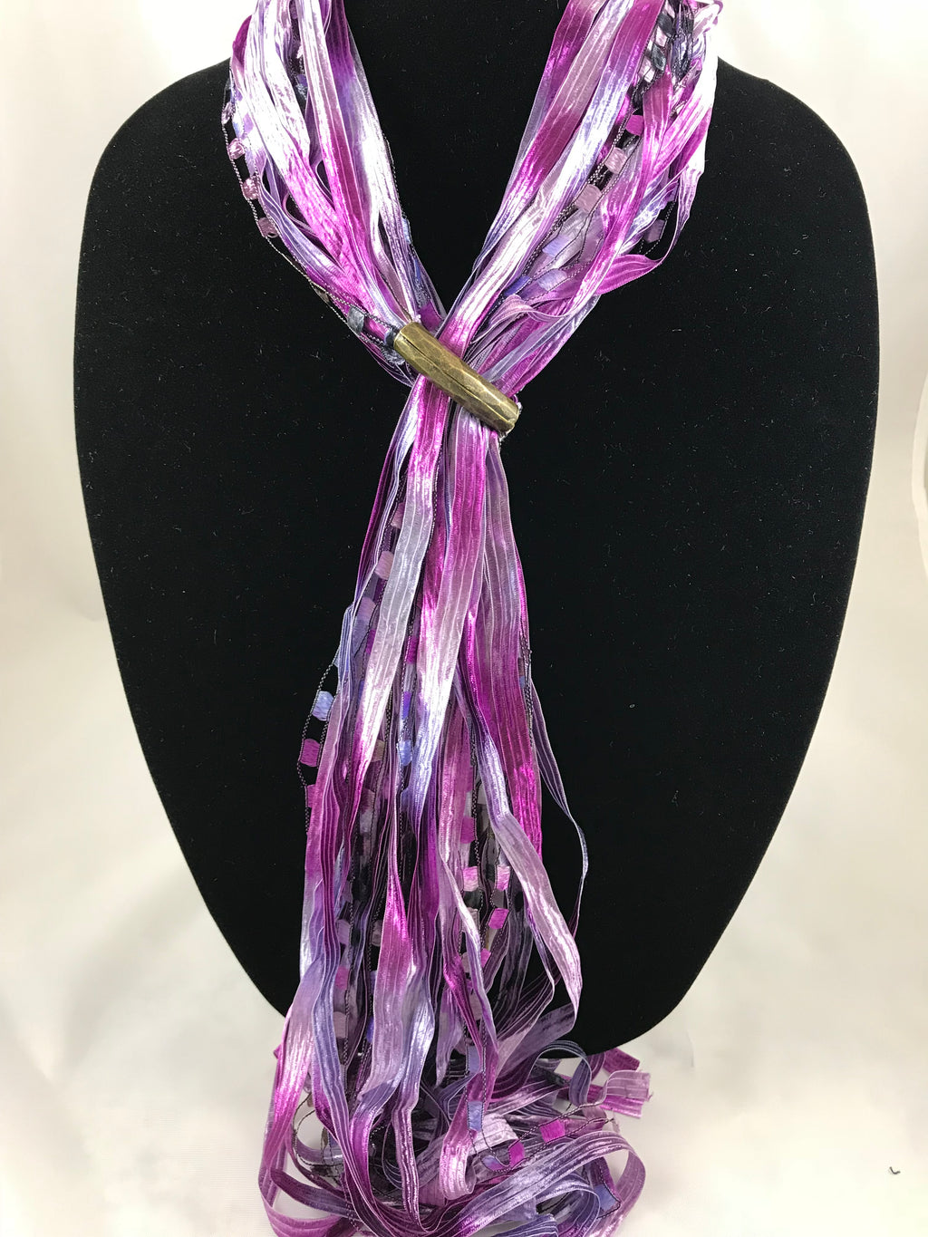 Soft Magenta | Boho Ribbon | Fiber Necklace