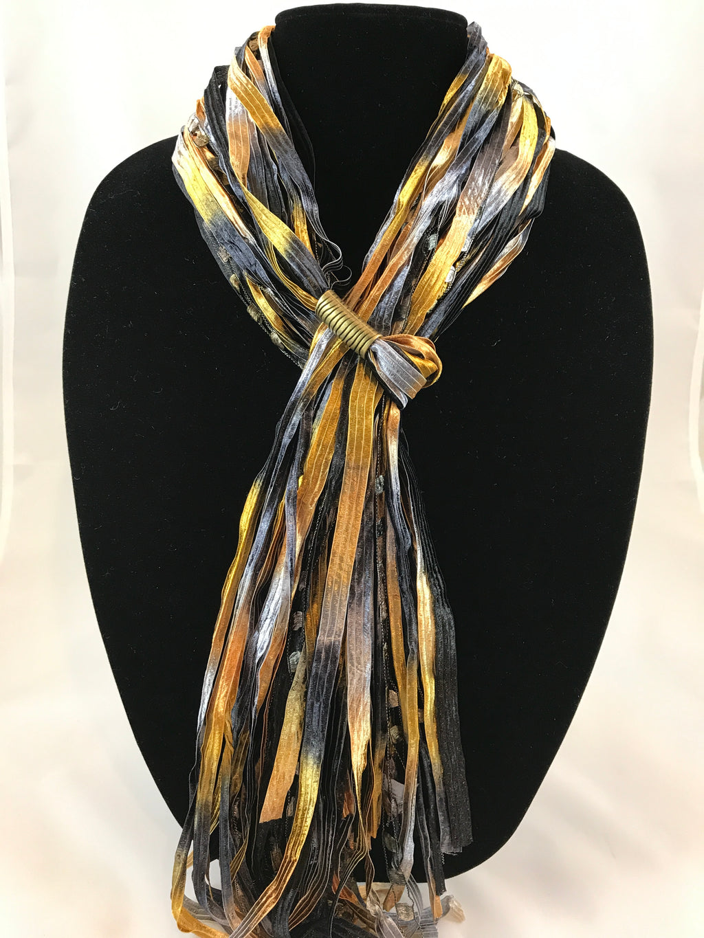 Black & Gold | Boho Ribbon | Fiber Necklace