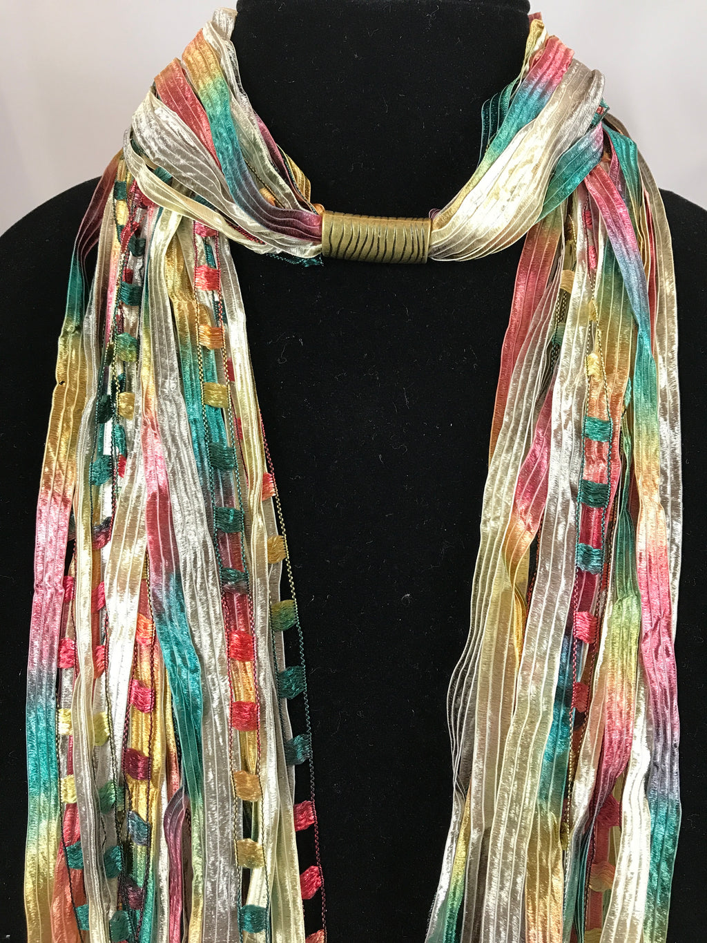Golden Peppers | Boho Ribbon | Fiber Necklace