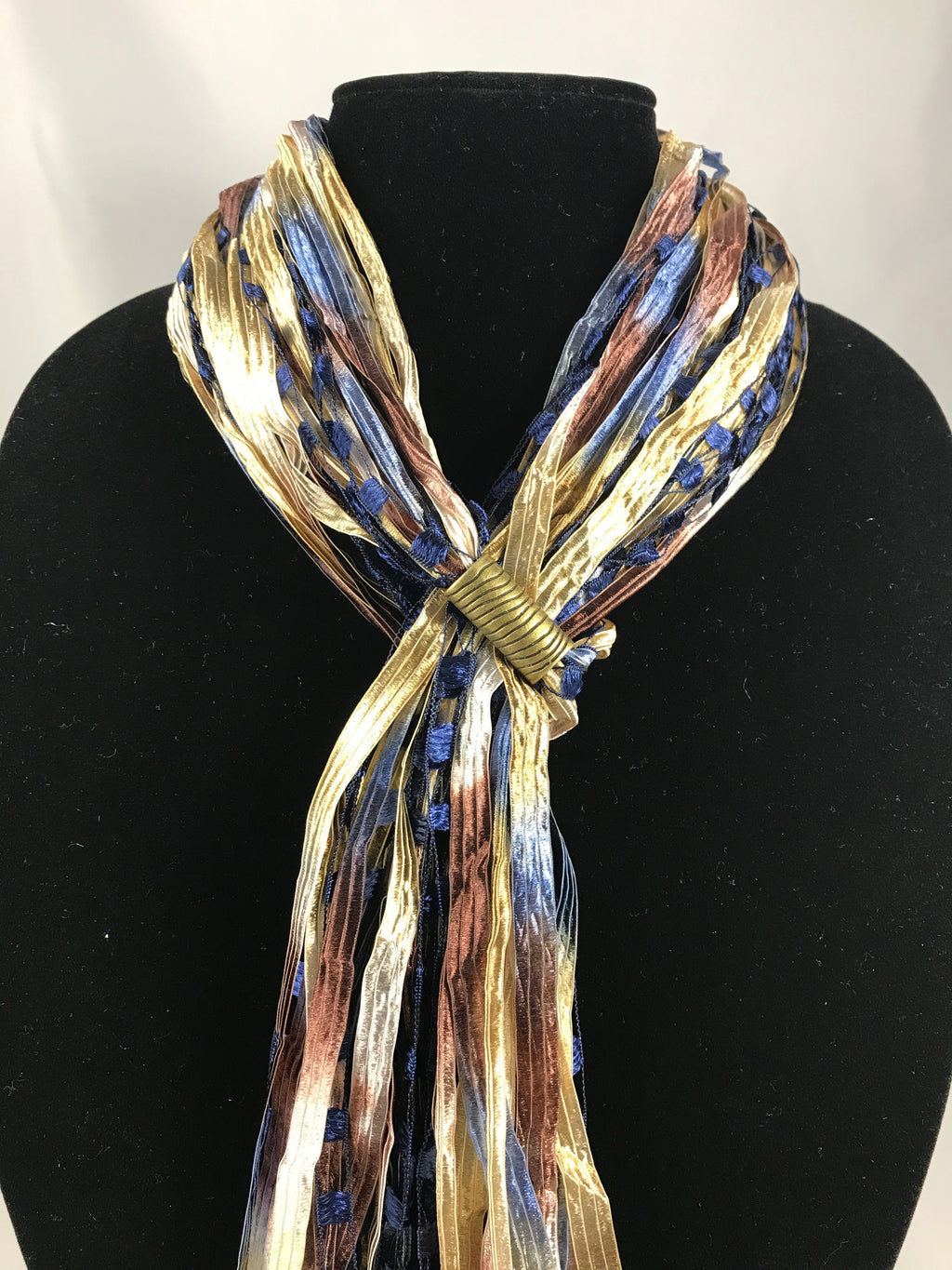 Blue Sand | Boho Ribbon | Fiber Necklace