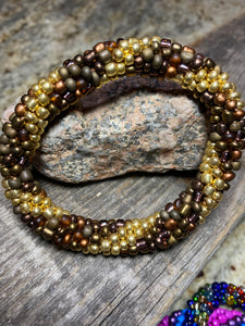 Bronze Canyon, Spiral Glass Beaded Bracelet | Inspired by the Elements | Smooth Roll On