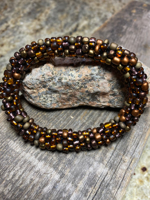 Bronze Canyon, Marble Glass Beaded Bracelet | Inspired by the Elements | Smooth Roll On