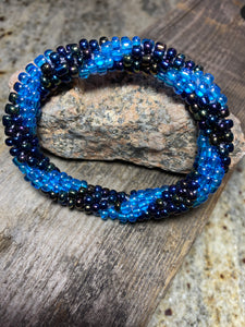 Duel Blues, Spiral Glass Beaded Bracelet | Inspired by the Elements | Smooth Roll On