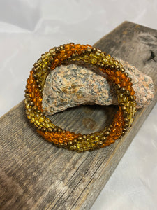 Rustic Charm, Spiral Glass Beaded Bracelet | Inspired by the Elements | Smooth Roll On