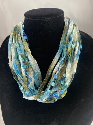Frosted Tiffany | Ribbon | Fiber Necklace