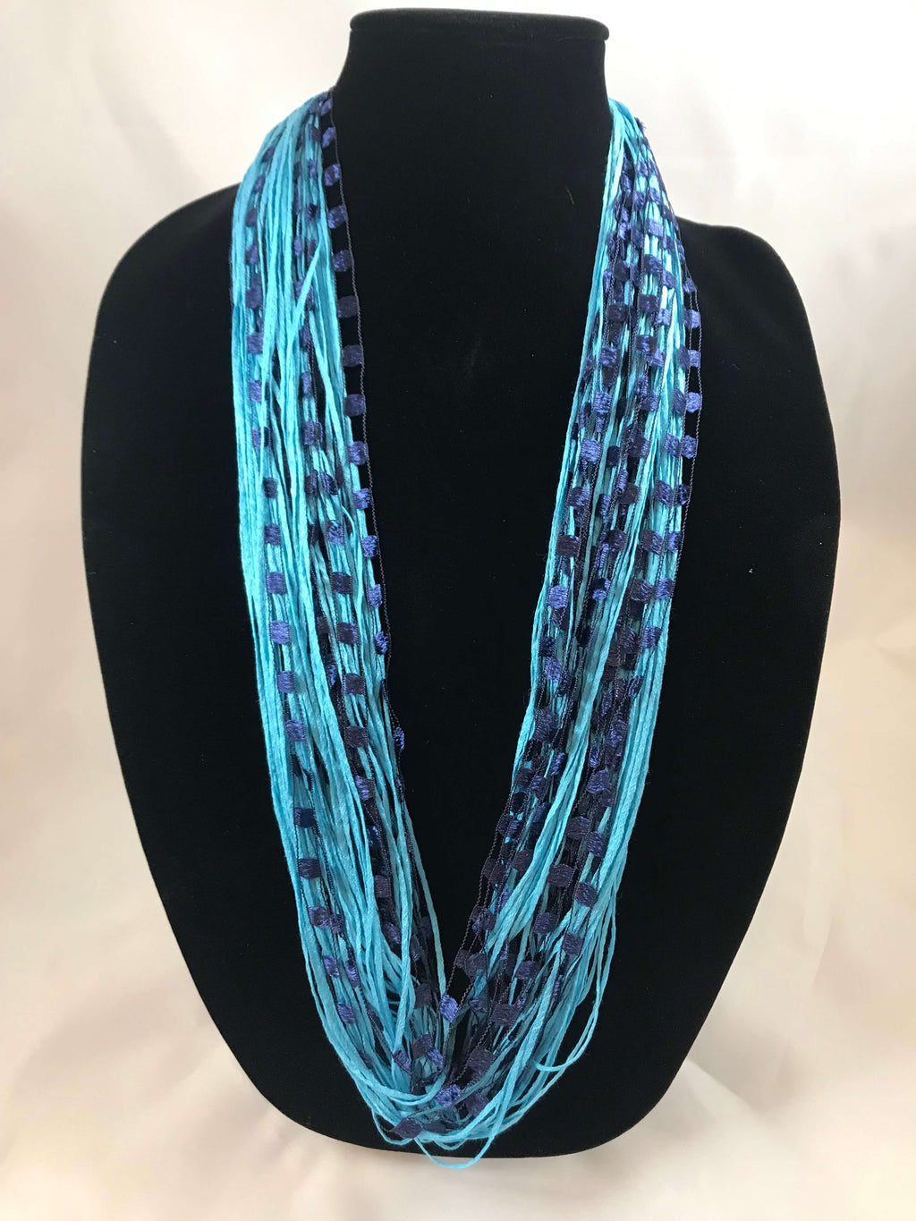 Aqua Navy | Jewel | Fiber Necklace