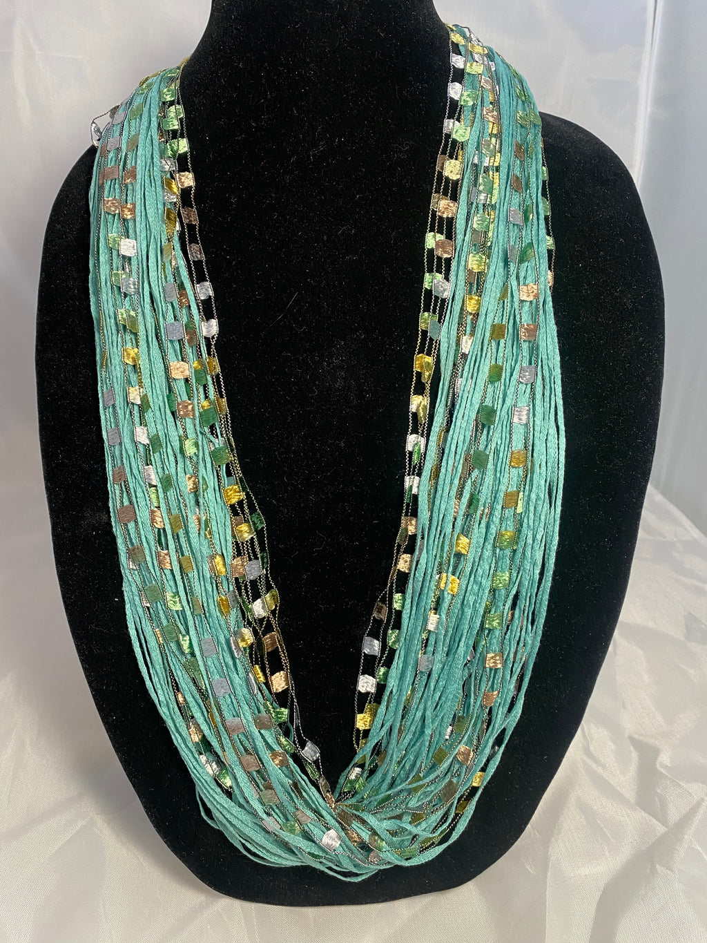 Aqua | Jewel | Fiber Necklace