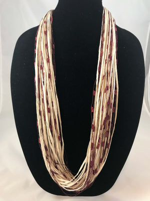 Tan Cran |  Jewel | Fiber Necklace