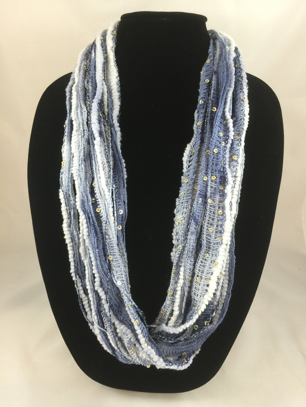 Sequined Ice Blue | Plush | Fiber Necklace