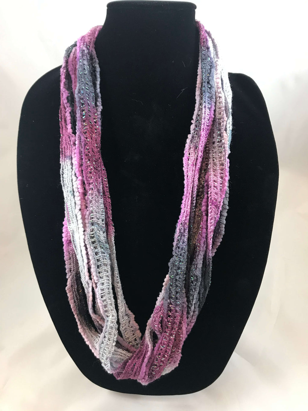 Raspberry Slate  | Plush | Fiber Necklace