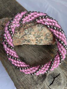 Pink Passion, Spiral Glass Beaded Bracelet | Inspired by the Elements | Smooth Roll On