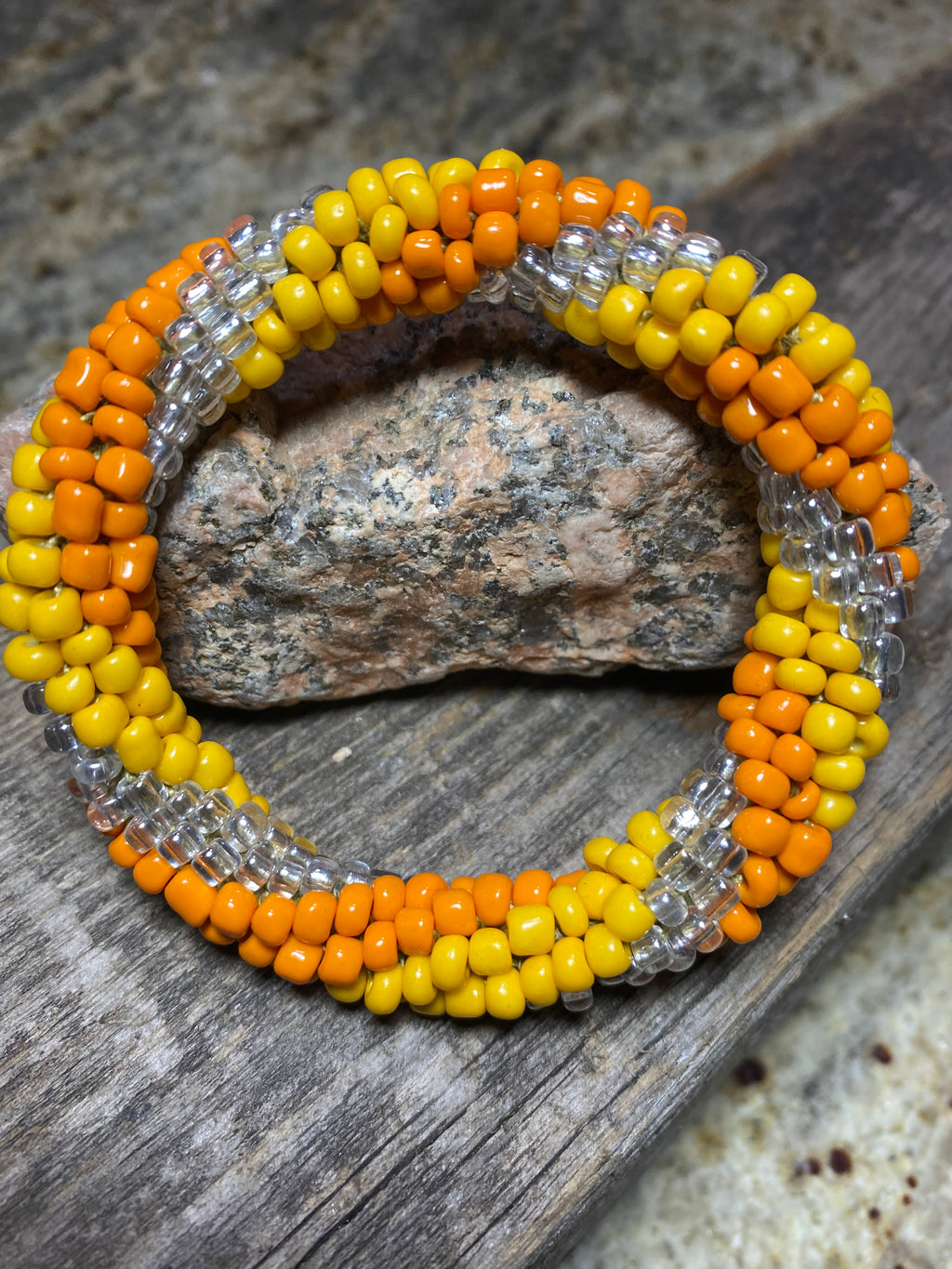 Summer Sunset, Spiral Glass Beaded Bracelet | Inspired by the Elements | Smooth Roll On
