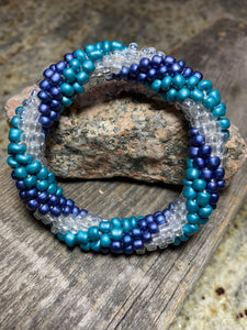 Twisted Rivers Spiral Glass Beaded Bracelet | Inspired by the Elements | Smooth Roll On