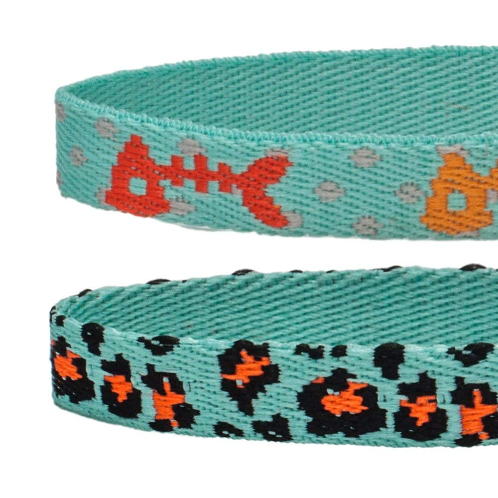 Blueberry Pet Hunting Expedition with Fish Bone and Leopard Print Adjustable Breakaway Cat Collar with Bell, 2 pack