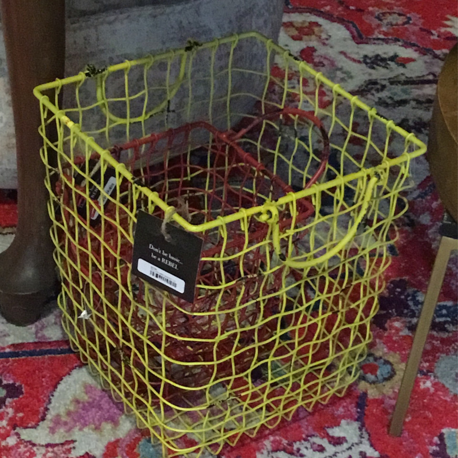 YELLOW WIRE BASKET LG