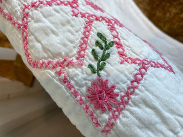 Pink and Green Embroidered