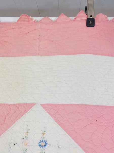 Pink Embroidered Quilt