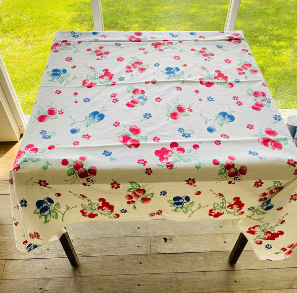 Strawberry and Blueberry Vintage Table Cloth