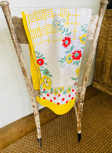 Yellow Floral Vintage Table Cloth