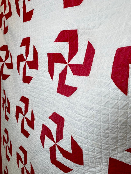 Red and White Zig Zag Quilt