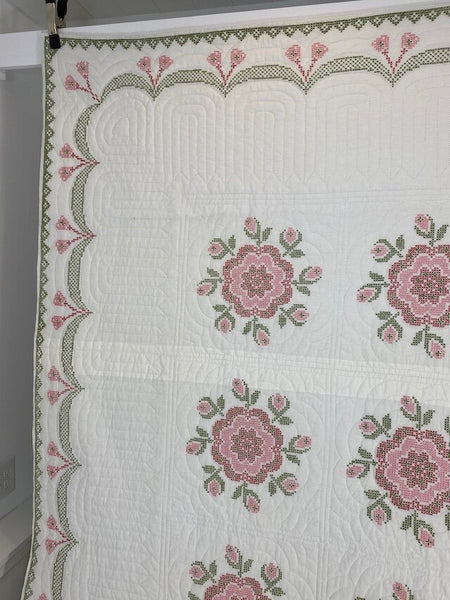 Rose Cross Stitch Quilt