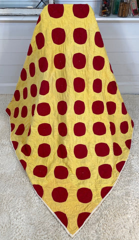 Red and Yellow Snowball Quilt