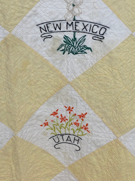 50 States Embroidered Quilt