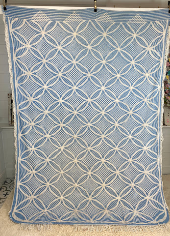 Blue and White Chenille Bed Cover