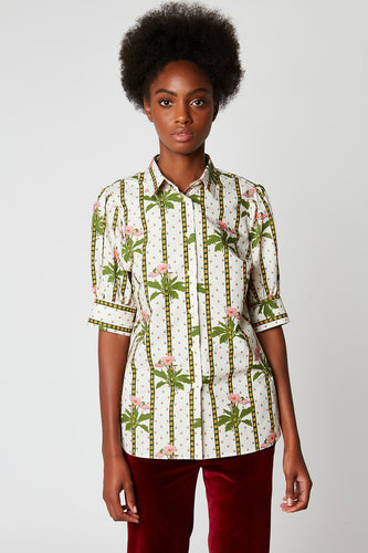 Blouse in printed poplin