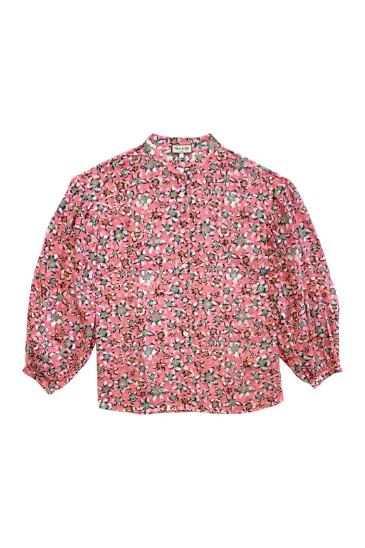Printed cotton voile blouse