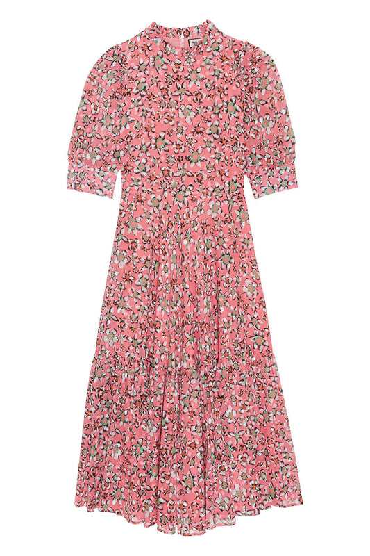 Printed cotton voile midi dress