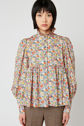 Liberty printed gathered blouse