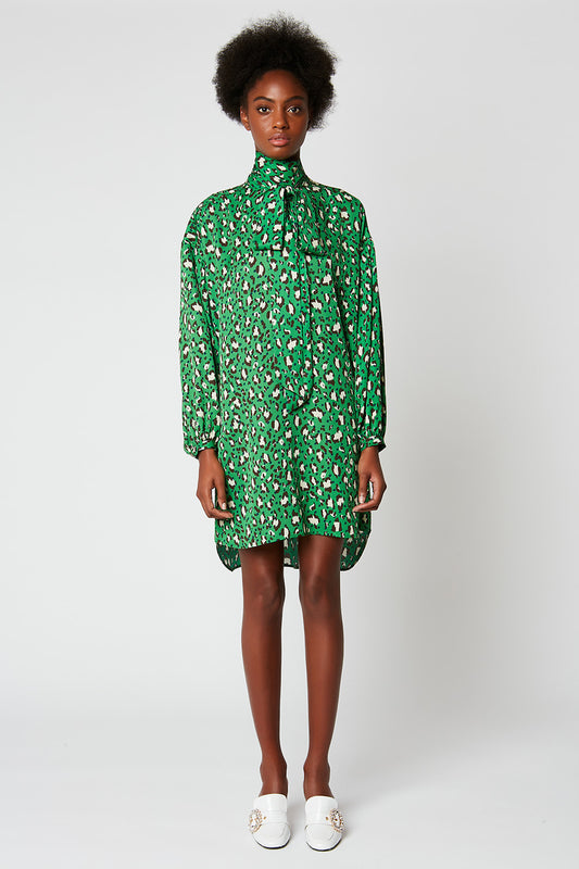 Printed twill dress with knotted collar