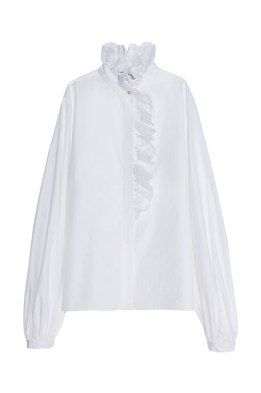 Poplin blouse with flounces and English embroidery