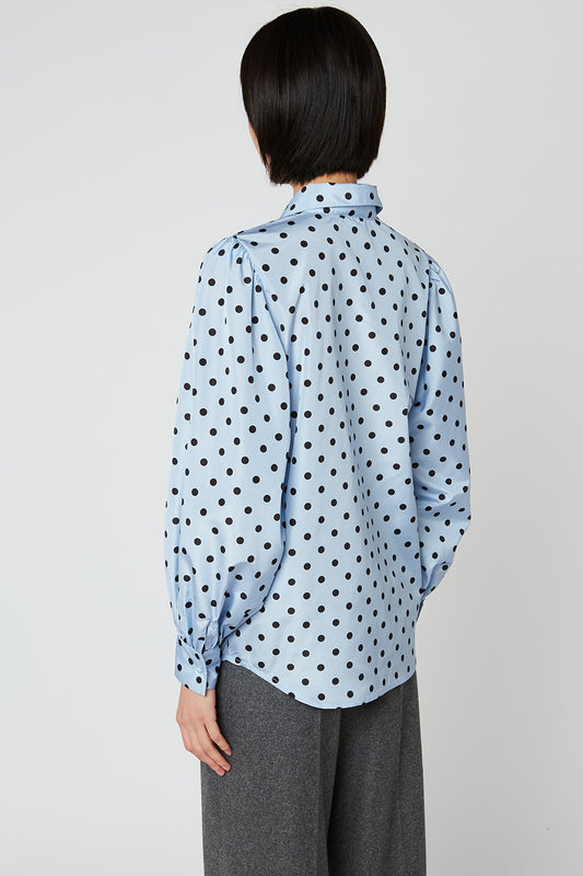 Taffeta blouse with polka dots