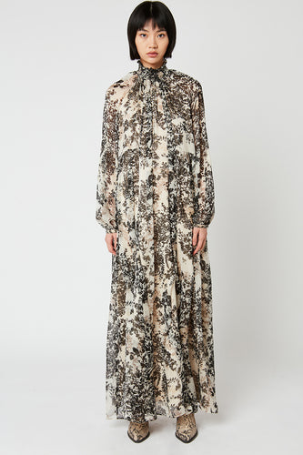 Printed chiffon long dress