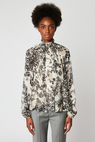 Printed silk-chiffon blouse with smocked collar